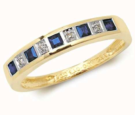 Treasure House 9k Yellow Gold Blue Sapphire and Diamond Ring RD217S