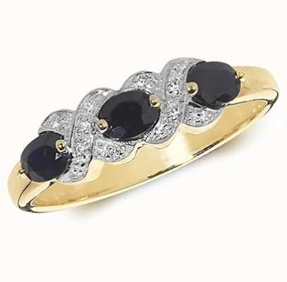 Treasure House 9k Yellow Gold Sapphire Diamond Ring RD294S