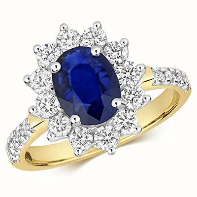 Treasure House 9k Yellow Gold Sapphire Diamond Set Shoulders Ring RD283S