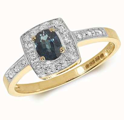 Treasure House 9k Yellow Gold Sapphire Diamond Cushion Ring RD295S