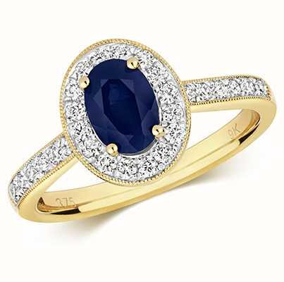 Treasure House 9k Yellow Gold Sapphire Diamond Round Ring RD417S