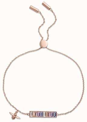 Olivia Burton   Rainbow Bee   Baguette Bar   Rose Gold   Bracelet   OBJAMB77