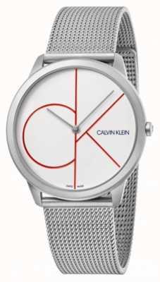Calvin Klein Minimal   Silver Mesh Bracelet   White Dial   K3M51152