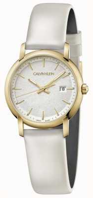 Calvin Klein   Womens White Leather Strap   Silver Dial   K9H235L6