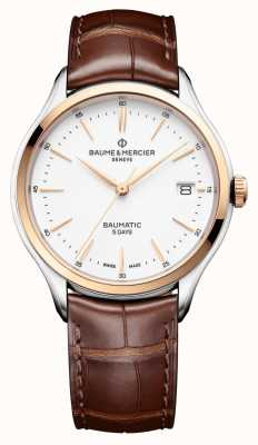 Baume & Mercier | Mens Clifton | Baumatic | Brown Leather | White Dial | BM0A10401