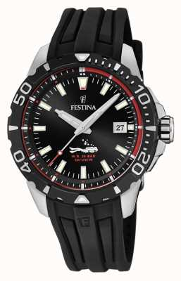 Festina | Mens Divers | Black Rubber Strap | Black Dial | F20462/2