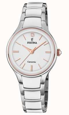 Festina | Womens Ceramic | Silver/White Bracelet | Rose Gold/White F20474/2