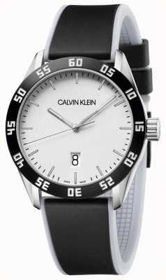 Calvin Klein | Mens | Compete | Black Rubber Strap | Silver Dial | K9R31CD6