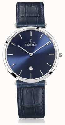 Michel Herbelin | Mens | Epsilon | Blue Leather Strap | Blue Dial | 19406/15BL
