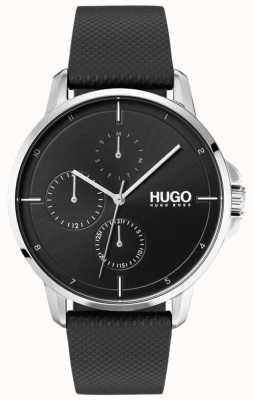 HUGO #focus | Black Leather Strap | Black Dial 1530022