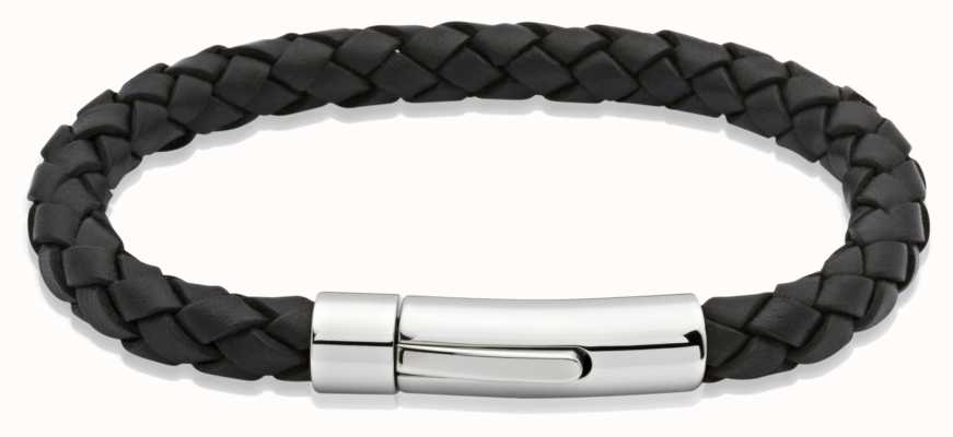 Unique & Co Black Leather  | Stainless Steel Clasp | Bracelet A40BL/21CM