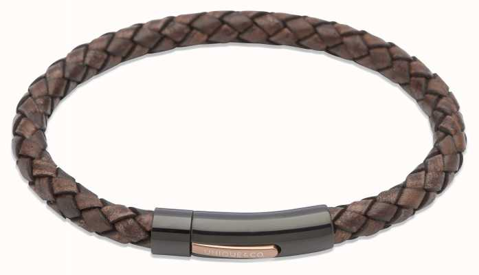 Unique & Co Dark Brown Leather | Steel Clasp | Bracelet B320ADB/21CM