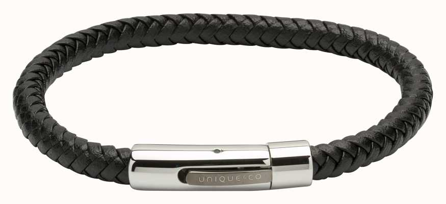 Unique & Co Black Leather |Steel Clasp | Bracelet B371BL/21CM
