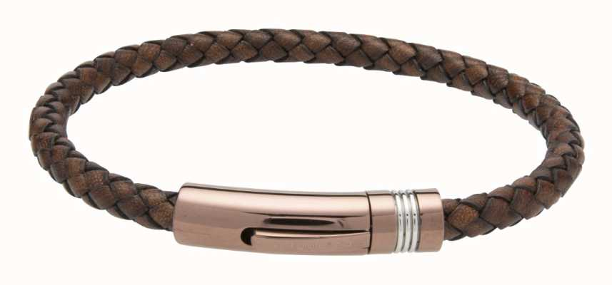 Unique & Co Dark Brown Leather | Steel Clasp | Bracelet B433ADB/21CM