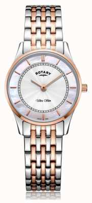 Rotary   Women's Ultra Slim Two-Tone Bracelet   Mother Of Pearl   LB08302/07/D