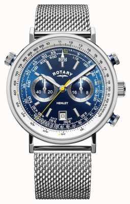 Rotary   Men's Henley Chronograph   Steel Mesh Bracelet   Blue Dial GB05235/05