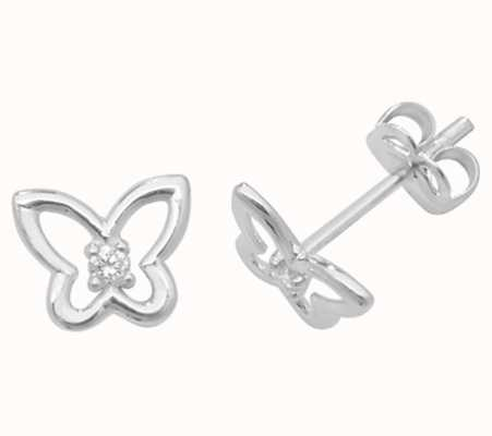 Treasure House 9ct white Gold Butterfly Cz Stud Earrings ES445W