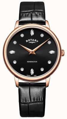 Rotary   Women's Kensington   Swarovski Crystal Black Dial   LS05174/04