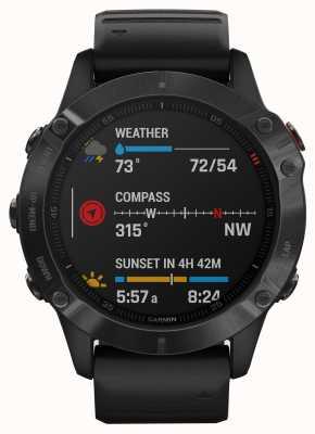 Garmin Fenix 6 Pro Gorilla Glass   Multisport Smartwatch   Black Rubber Strap 010-02158-02