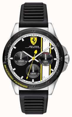 Scuderia Ferrari | Men's Pilota | Black Rubber Strap | Black Chronograph Dial 0830659