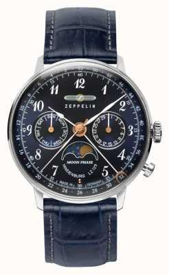 Zeppelin LZ129 Hindenburg Quartz Day/Date Watch Moon Phase Blue Dial 7037-3