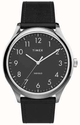 Timex | Easy Reader 40mm | Black Leather Strap | Black Dial | TW2T71900