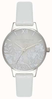Olivia Burton | Womens | Lace Detail Mother Of Pearl Dial | Grey Leather OB16MV93