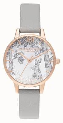 Olivia Burton   Womens   Snow Globe Winter Bunny   Grey Leather Strap OB16SG06