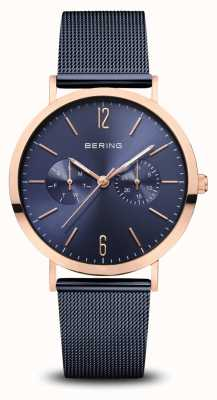 Bering | Classic | Polished Rose Gold | Blue Mesh Bracelet | 14236-367
