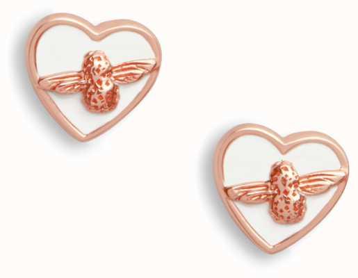 Olivia Burton | Love Bug | White And Rose Gold | Stud Earrings | OBJLHE25