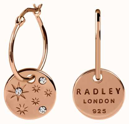 Radley Jewellery Star Gazing | Rose Gold Scattered Stone Disc Hoop Earrings RYJ1108