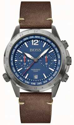 Boss | Men's Nomad | Brown Leather Strap | Blue Dial | 1513773