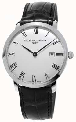 Frederique Constant Mens | Slimline | Automatic | Black Leather | Silver Dial FC-306MR4S6