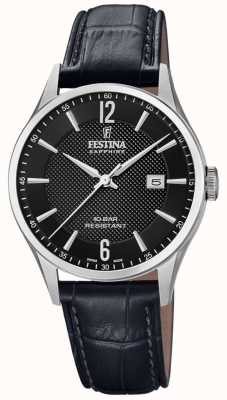 Festina | Men's Swiss Made | Black Leather Strap | Black Dial | F20007/4