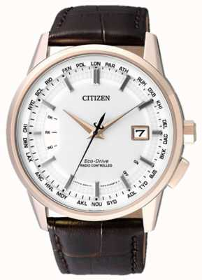 Citizen World Perpetual A-T | Brown Leather Strap | White Dial | CB0153-21A