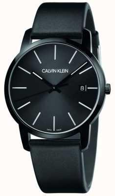 Calvin Klein | Men's City | Black Leather Strap | Black Dial | K2G2G4CX