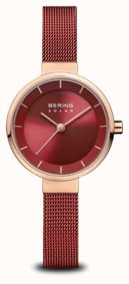 Bering | Women's Solar | Polished Rose Gold | Red Mesh | Red Dial | 14627-363