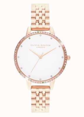 Olivia Burton   Womens   Rainbow Bezel   Rose Gold Bracelet   OB16RB21