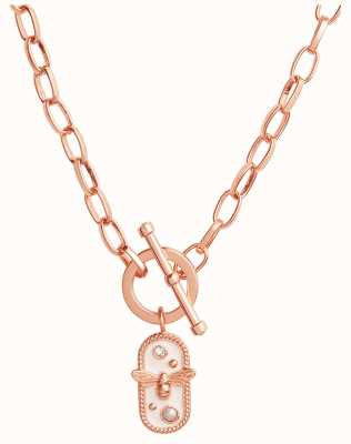 Olivia Burton Lucky Bee | White Enamel Bee Chain Necklace | Rose Gold OBJAMN80