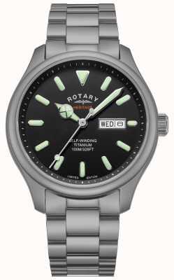 Rotary Men's Henley | Titanium Bracelet | Black Dial | GB05249/04