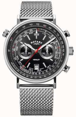 Rotary Men's Henley   Steel Mesh Bracelet   Black Dial   GB05235/04