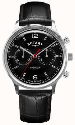 Rotary Men's Avenger | Black Leather Strap | Black Dial | GS05203/04