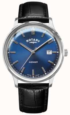 Rotary Men's Avenger | Black Leather Strap | Blue Dial | GS05400/05