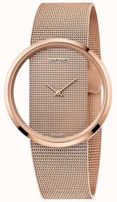 Calvin Klein | Glam | Rose Gold PVD Plated Mesh Bracelet | Rose Gold Dial K942362A