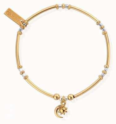 ChloBo Gold And Silver Dainty Moon And Sun Bracelet GMBMNCR1097