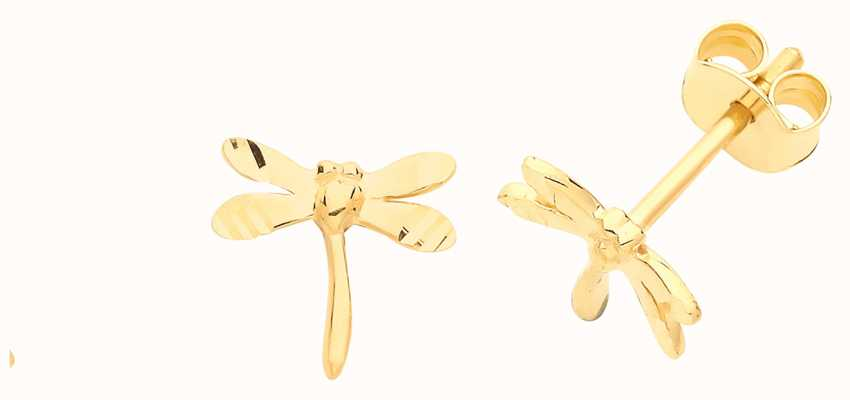 Treasure House 9ct Gold Small Dragonfly Stud Earrings ES688