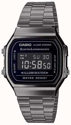 Casio | Vintage | Silver Stainless Steel Bracelet | Black Dial | A168WEGG-1BEF