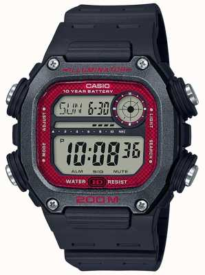 Casio | Collection | Black Rubber Strap | Black/Red Dial DW-291H-1BVEF