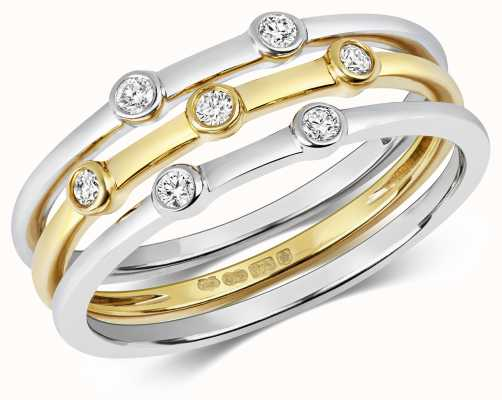 Treasure House 9ct Gold White Gold X3 Diamond Stack Rings Size N RD199/N