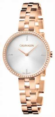 Calvin Klein Elegance   Rose Gold Stainless Steel Bracelet   Silver Dial KBF23X4W